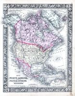 North America, World Atlas 1864 Mitchells New General Atlas